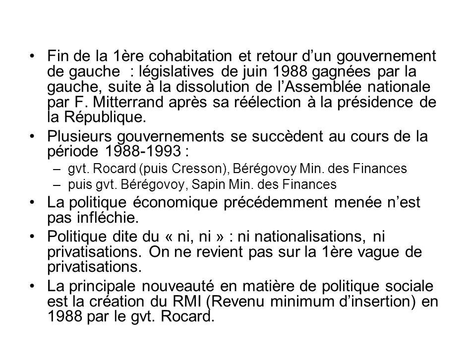 Fin de la 1ère cohabitation et retour dun gouvernement de gauche : législatives de juin 1988 gagnées par la gauche, suite à la dissolution de lAssembl