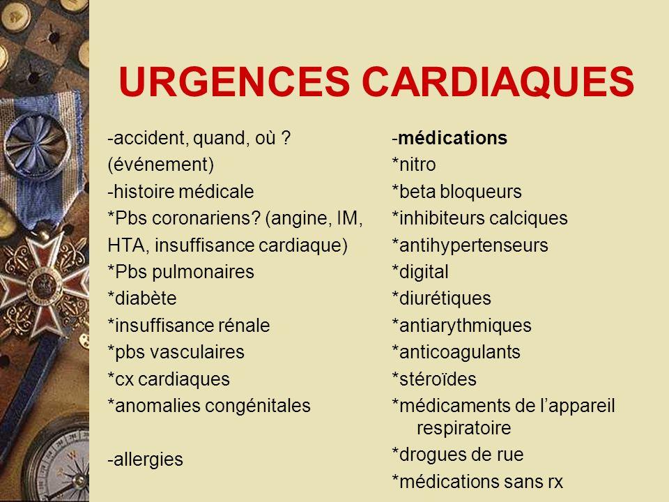 URGENCES CARDIAQUES -accident, quand, où ? (événement) -histoire médicale *Pbs coronariens? (angine, IM, HTA, insuffisance cardiaque) *Pbs pulmonaires