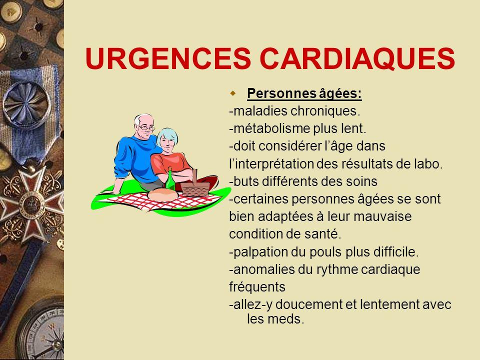 URGENCES CARDIAQUES Personnes âgées: -maladies chroniques. -métabolisme plus lent. -doit considérer lâge dans linterprétation des résultats de labo. -