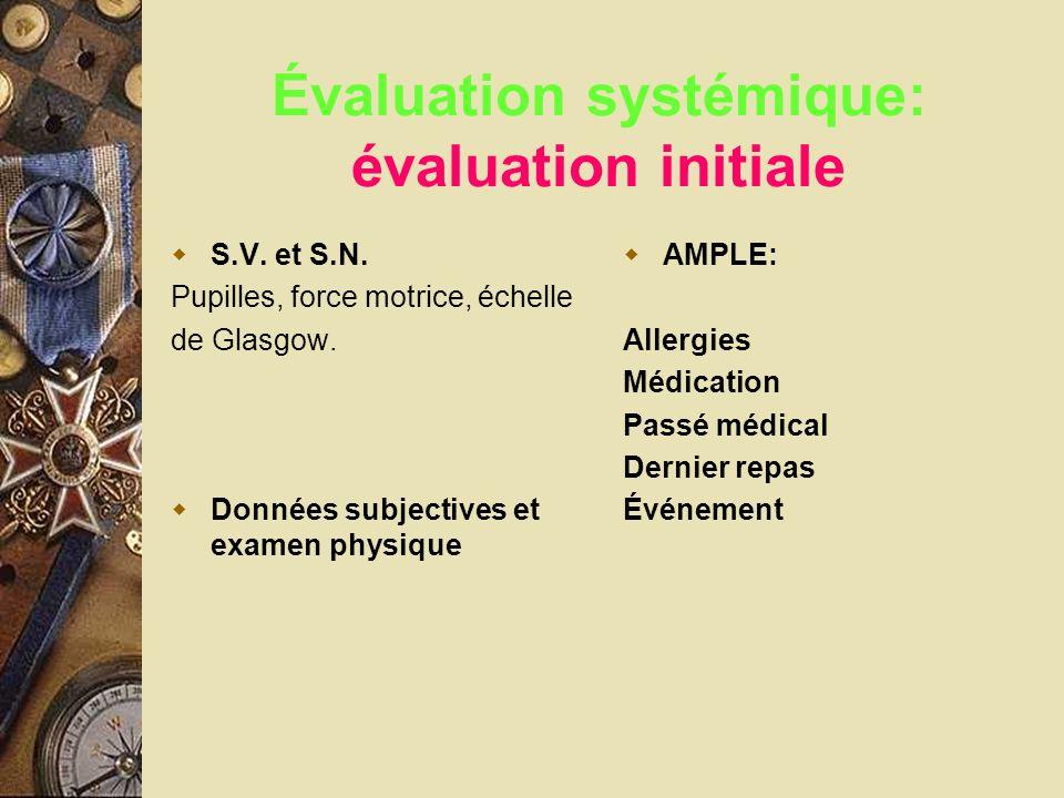 Évaluation systémique: évaluation initiale S.V. et S.N. Pupilles, force motrice, échelle de Glasgow. Données subjectives et examen physique AMPLE: All