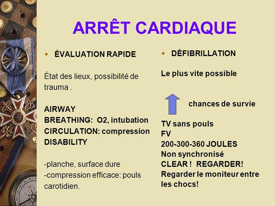 ARRÊT CARDIAQUE ÉVALUATION RAPIDE État des lieux, possibilité de trauma. AIRWAY BREATHING: O2, intubation CIRCULATION: compression DISABILITY -planche