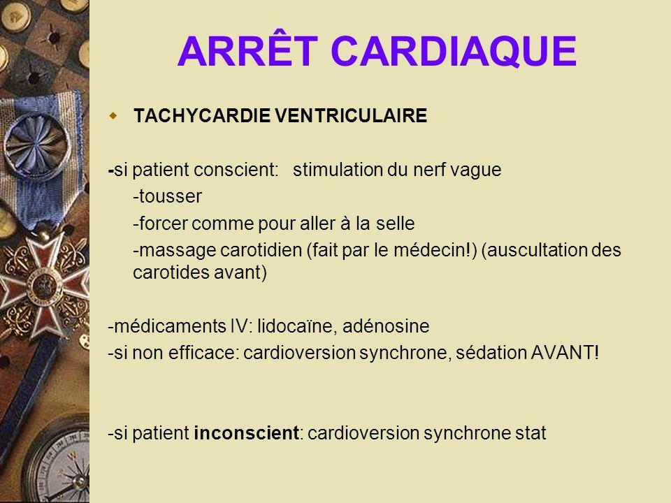 ARRÊT CARDIAQUE TACHYCARDIE VENTRICULAIRE -si patient conscient: stimulation du nerf vague -tousser -forcer comme pour aller à la selle -massage carot