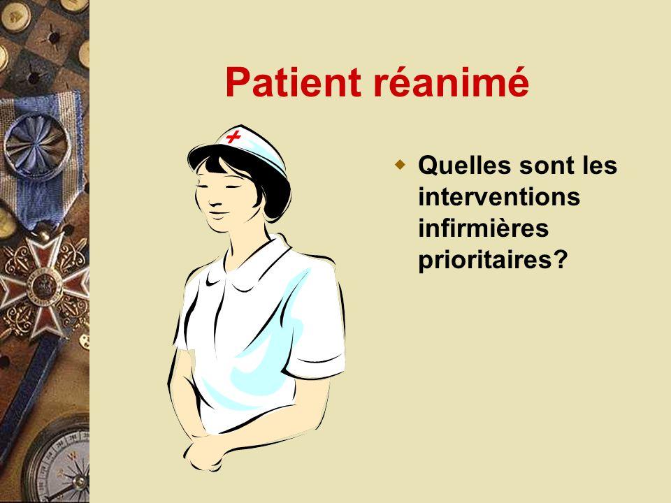 Patient réanimé Quelles sont les interventions infirmières prioritaires?