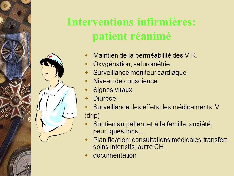 Interventions infirmières: patient réanimé Maintien de la perméabilité des V.R. Oxygénation, saturométrie Surveillance moniteur cardiaque Niveau de co