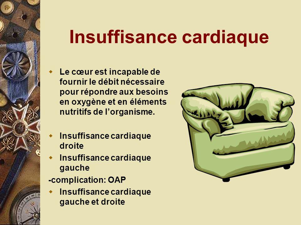 Insuffisance cardiaque Le cœur est incapable de fournir le débit nécessaire pour répondre aux besoins en oxygène et en éléments nutritifs de lorganism