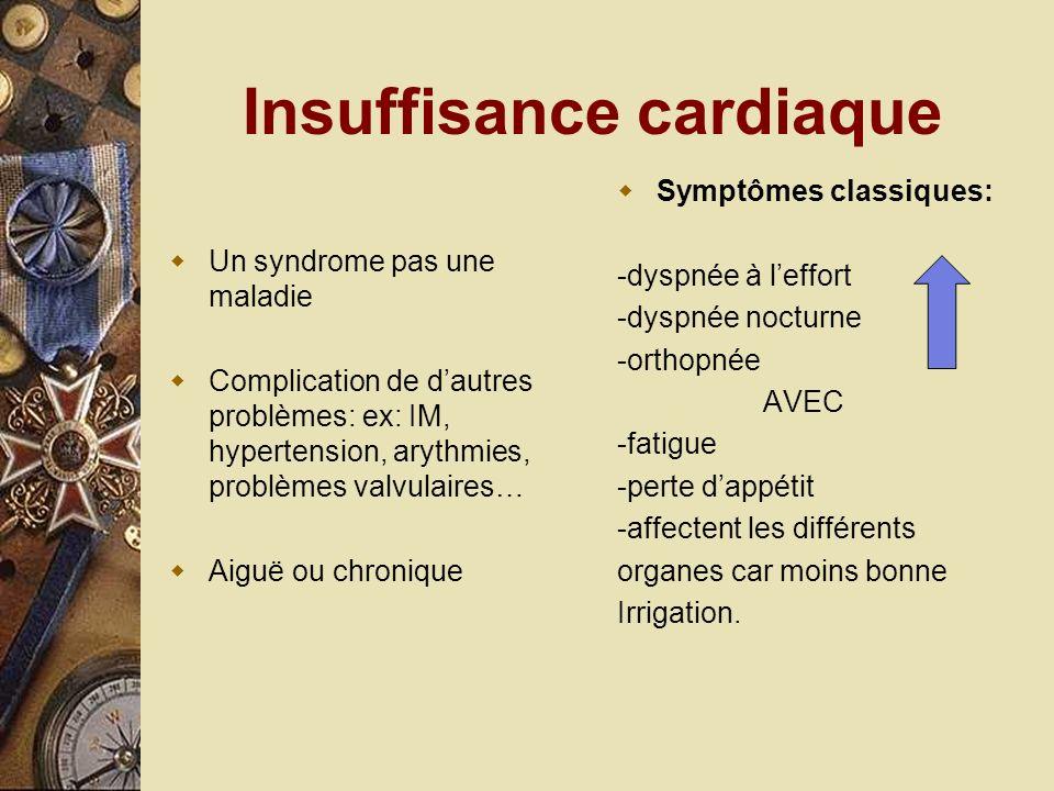 Insuffisance cardiaque Un syndrome pas une maladie Complication de dautres problèmes: ex: IM, hypertension, arythmies, problèmes valvulaires… Aiguë ou