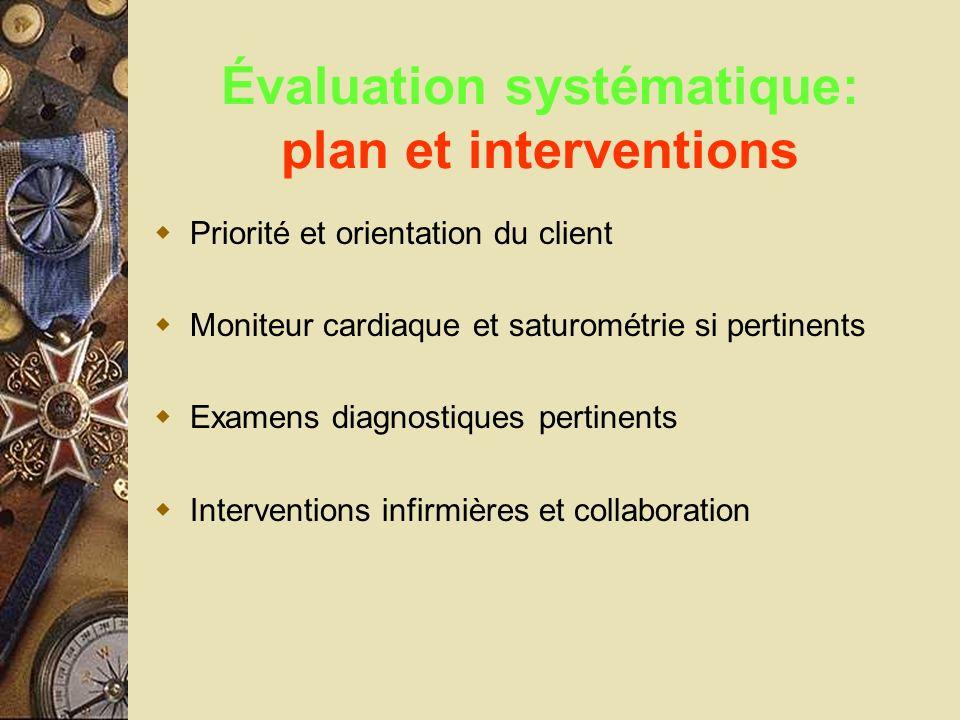 Évaluation systématique: plan et interventions Priorité et orientation du client Moniteur cardiaque et saturométrie si pertinents Examens diagnostique