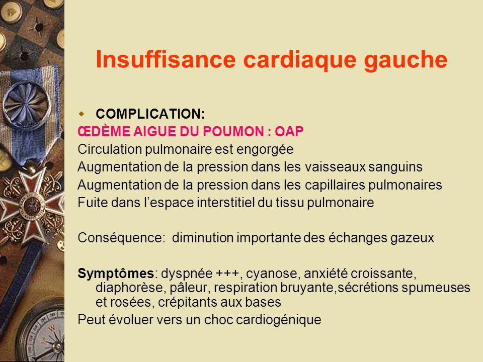 Insuffisance cardiaque gauche COMPLICATION: ŒDÈME AIGUE DU POUMON : OAP Circulation pulmonaire est engorgée Augmentation de la pression dans les vaiss