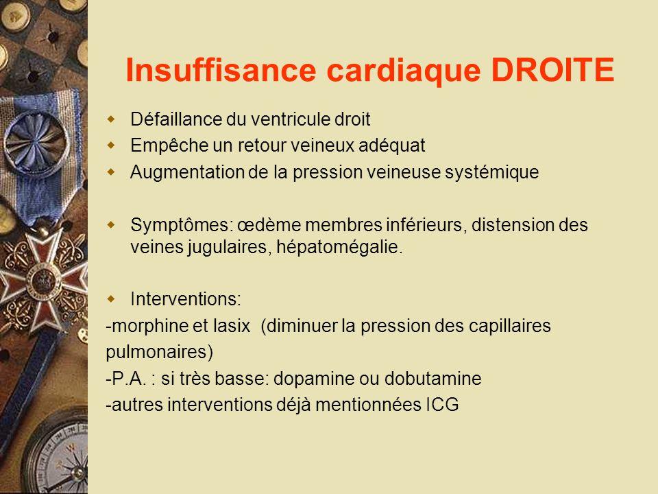 Insuffisance cardiaque DROITE Défaillance du ventricule droit Empêche un retour veineux adéquat Augmentation de la pression veineuse systémique Symptô