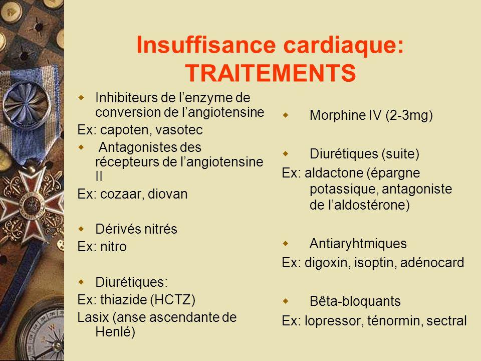 Insuffisance cardiaque: TRAITEMENTS Inhibiteurs de lenzyme de conversion de langiotensine Ex: capoten, vasotec Antagonistes des récepteurs de langiote