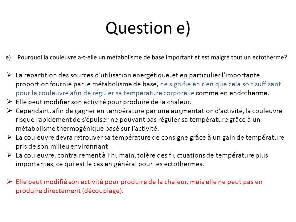 Question e) La répartition des sources dutilisation énergétique, et en particulier limportante proportion fournie par le métabolisme de base, ne signi