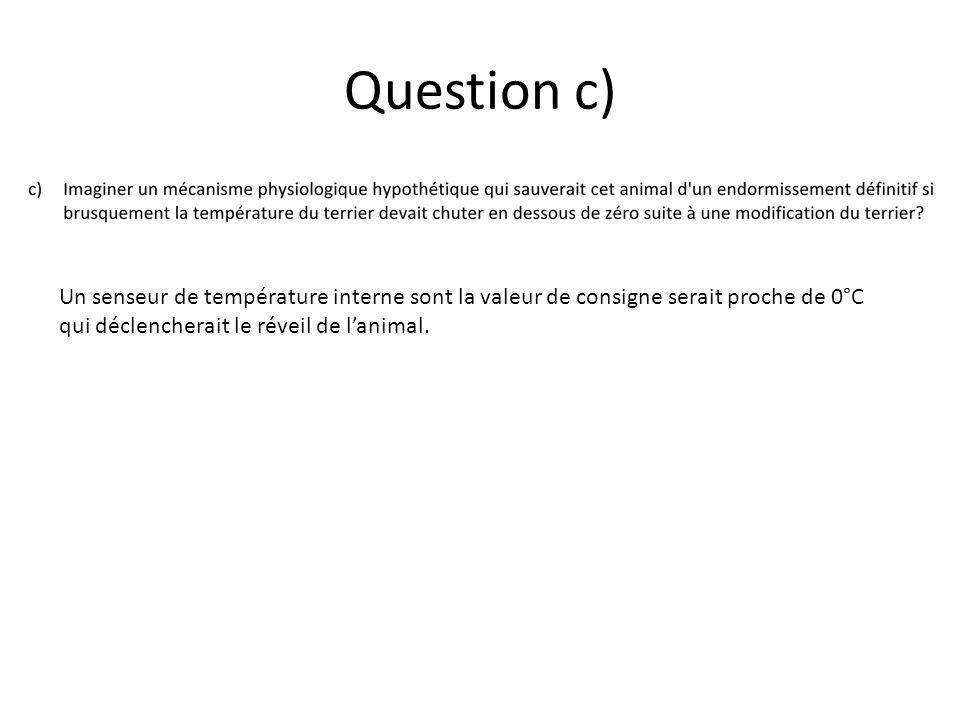 Question c) Un senseur de température interne sont la valeur de consigne serait proche de 0°C qui déclencherait le réveil de lanimal.