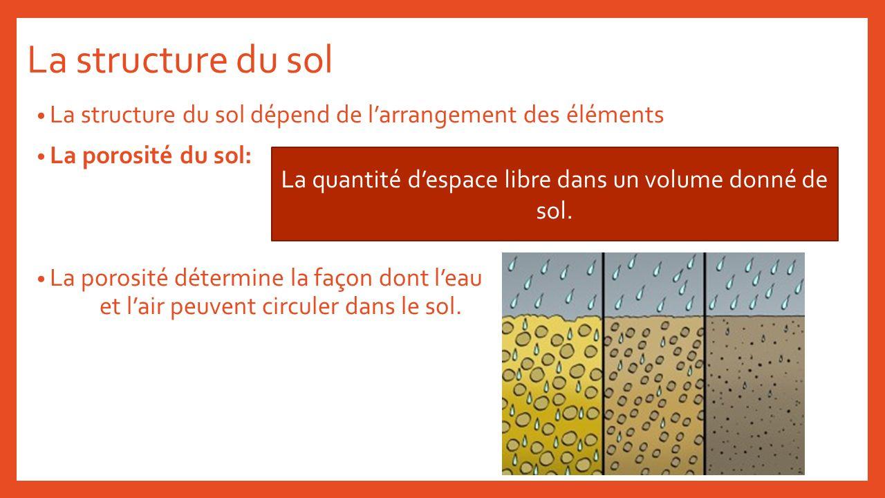 La structure du sol La structure du sol dépend de larrangement des éléments La porosité du sol: La porosité détermine la façon dont leau et lair peuve