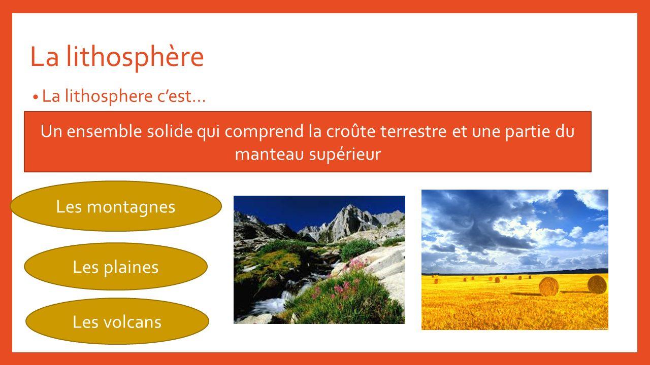 La lithosphère La lithosphere cest… Un ensemble solide qui comprend la croûte terrestre et une partie du manteau supérieur Les montagnes Les plaines L