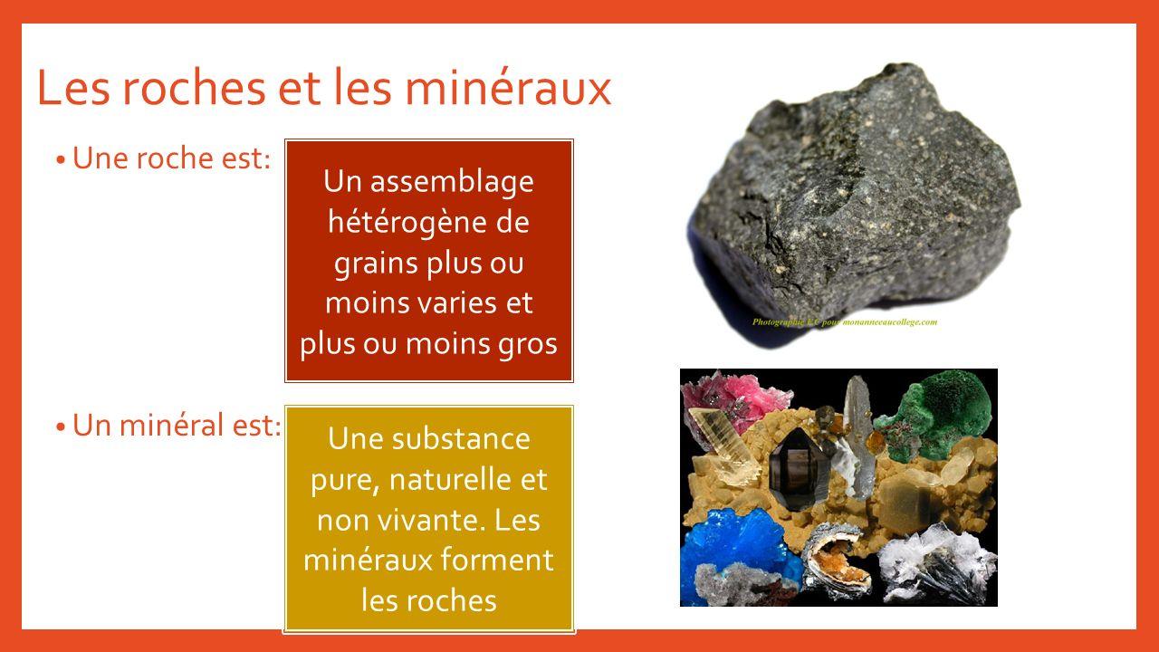 Les roches et les minéraux Une roche est: Un minéral est: Un assemblage hétérogène de grains plus ou moins varies et plus ou moins gros Une substance