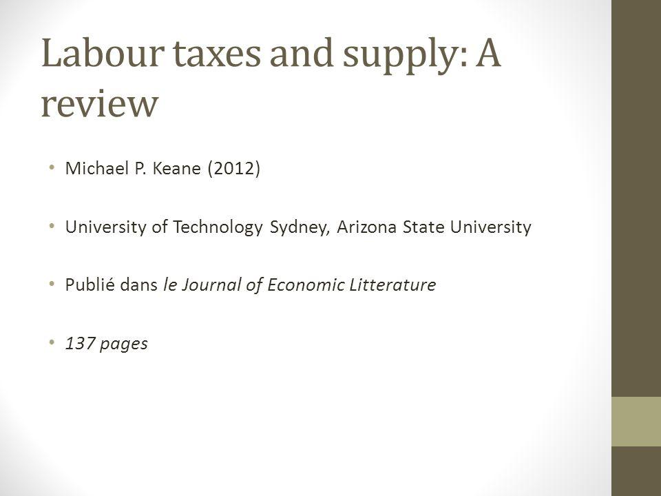 Plan de la présentation Lien entre taxation et offre de travail Principaux type de modèle Problème destimation Offre de travail des hommes Offre de travail des femmes