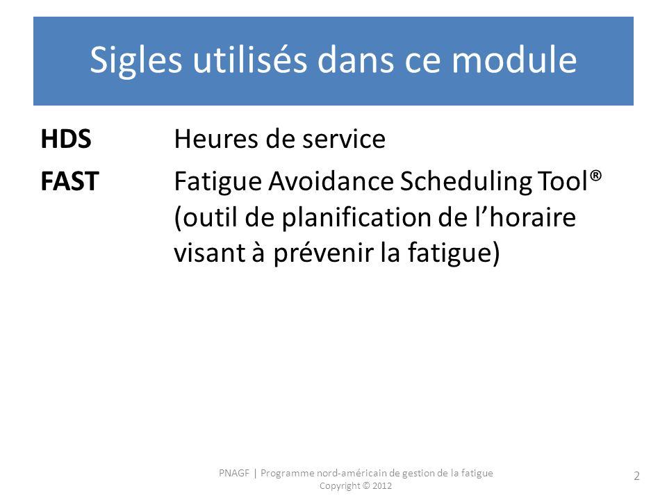 PNAGF | Programme nord-américain de gestion de la fatigue Copyright © 2012 2 Sigles utilisés dans ce module HDS Heures de service FASTFatigue Avoidance Scheduling Tool® (outil de planification de lhoraire visant à prévenir la fatigue)