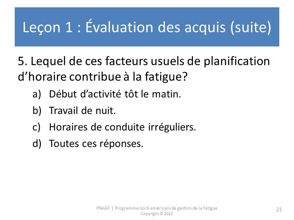 PNAGF | Programme nord-américain de gestion de la fatigue Copyright © 2012 21 Leçon 1 : Évaluation des acquis (suite) 5. Lequel de ces facteurs usuels