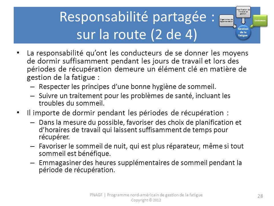 PNAGF | Programme nord-américain de gestion de la fatigue Copyright © 2012 28 La responsabilité quont les conducteurs de se donner les moyens de dormi