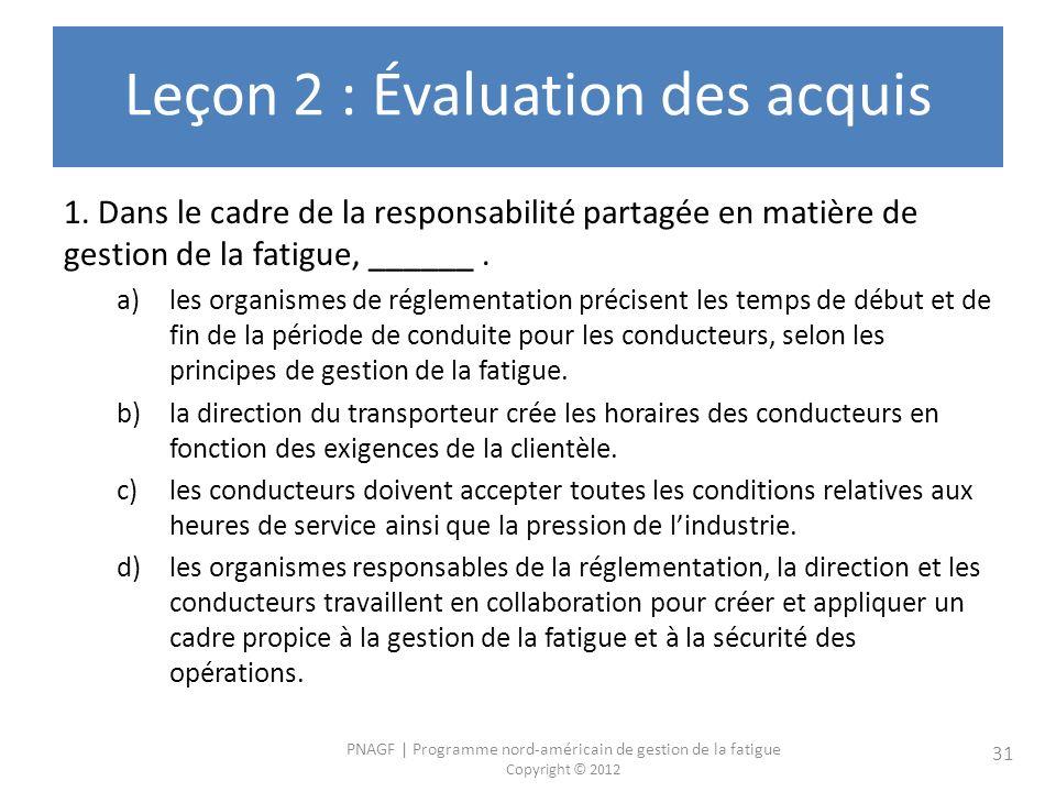 PNAGF | Programme nord-américain de gestion de la fatigue Copyright © 2012 31 Leçon 2 : Évaluation des acquis 1. Dans le cadre de la responsabilité pa