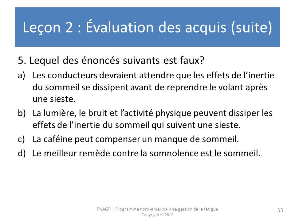PNAGF | Programme nord-américain de gestion de la fatigue Copyright © 2012 35 Leçon 2 : Évaluation des acquis (suite) 5. Lequel des énoncés suivants e