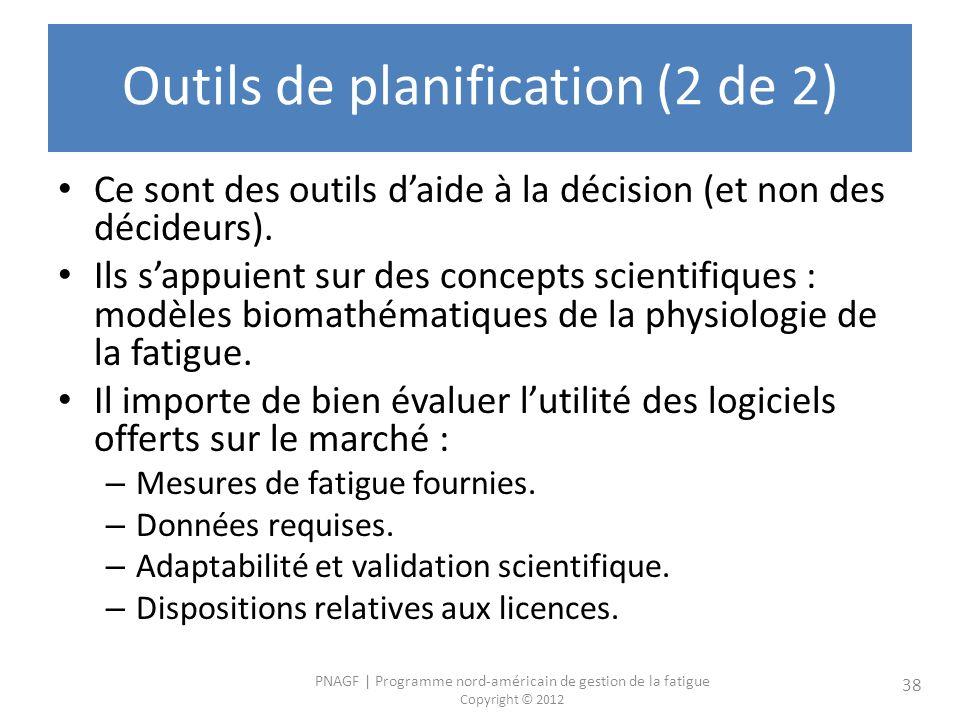 PNAGF | Programme nord-américain de gestion de la fatigue Copyright © 2012 38 Outils de planification (2 de 2) Ce sont des outils daide à la décision