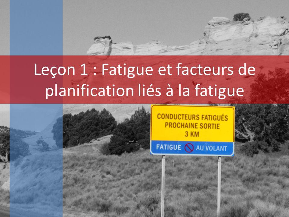 Leçon 1 : Fatigue et facteurs de planification liés à la fatigue