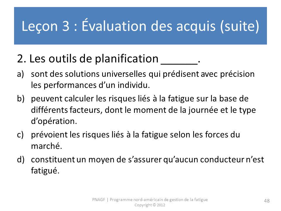 PNAGF | Programme nord-américain de gestion de la fatigue Copyright © 2012 48 Leçon 3 : Évaluation des acquis (suite) 2. Les outils de planification _