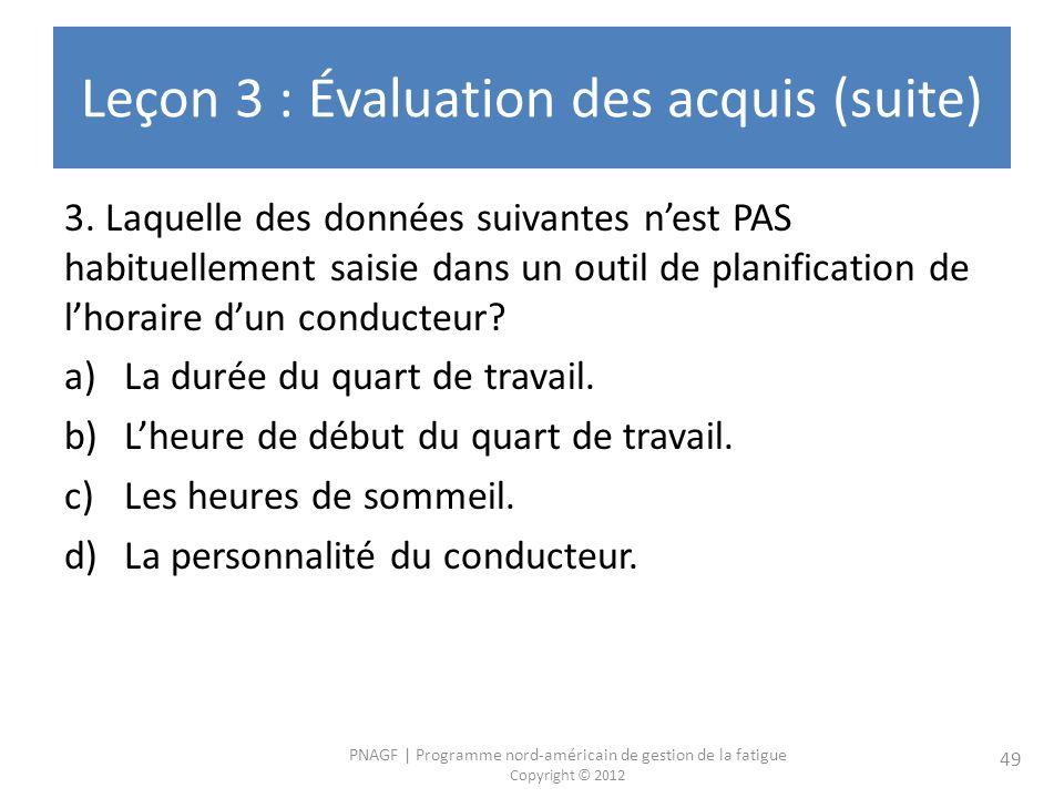 PNAGF | Programme nord-américain de gestion de la fatigue Copyright © 2012 49 Leçon 3 : Évaluation des acquis (suite) 3. Laquelle des données suivante