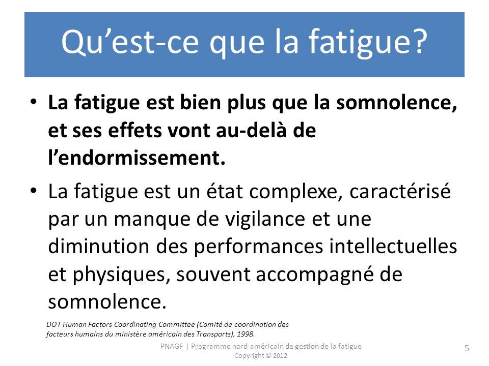 PNAGF | Programme nord-américain de gestion de la fatigue Copyright © 2012 5 Quest-ce que la fatigue? La fatigue est bien plus que la somnolence, et s