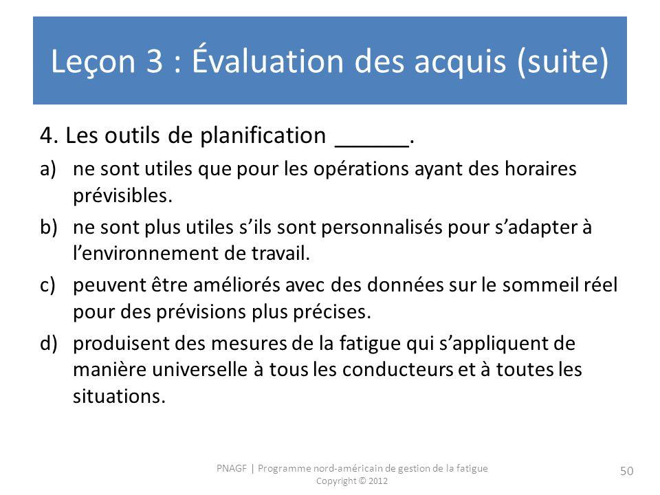 PNAGF | Programme nord-américain de gestion de la fatigue Copyright © 2012 50 Leçon 3 : Évaluation des acquis (suite) 4. Les outils de planification _