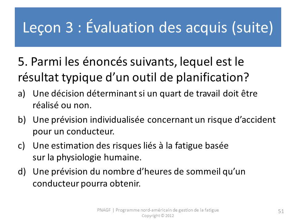 PNAGF | Programme nord-américain de gestion de la fatigue Copyright © 2012 51 Leçon 3 : Évaluation des acquis (suite) 5. Parmi les énoncés suivants, l