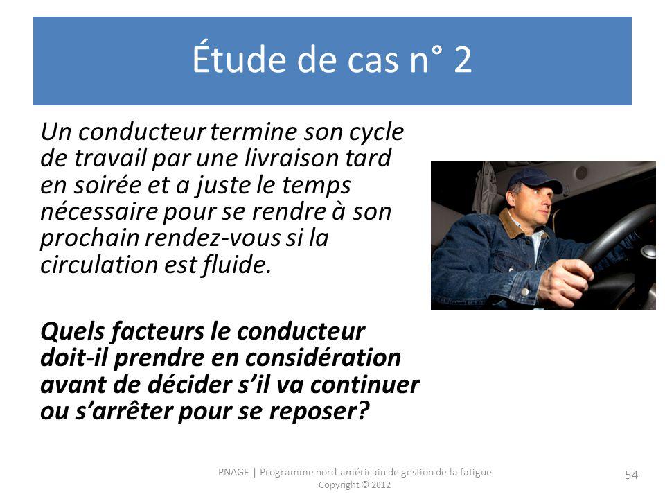 PNAGF | Programme nord-américain de gestion de la fatigue Copyright © 2012 54 Étude de cas n° 2 Un conducteur termine son cycle de travail par une liv