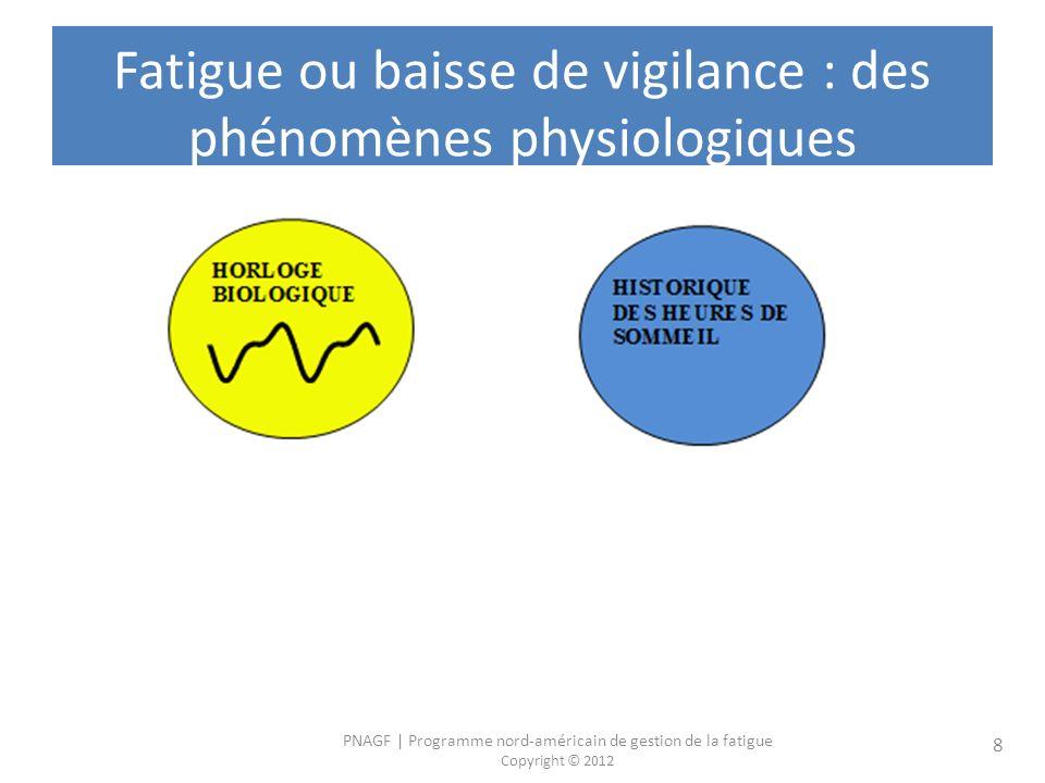 PNAGF | Programme nord-américain de gestion de la fatigue Copyright © 2012 8 Fatigue ou baisse de vigilance : des phénomènes physiologiques