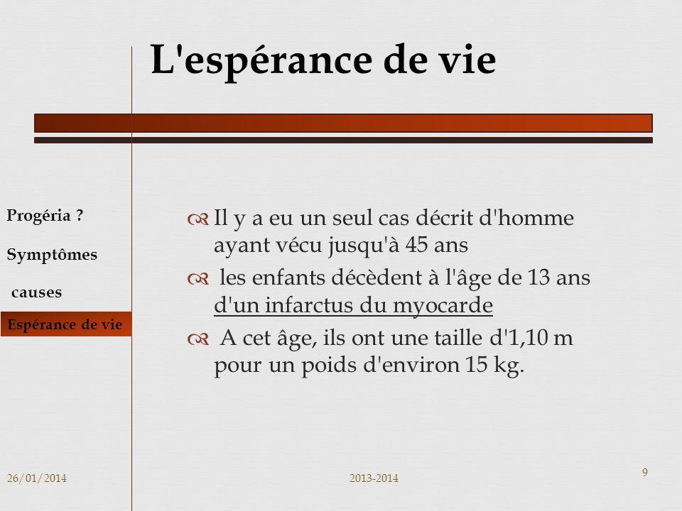 Il y a eu un seul cas décrit d homme ayant vécu jusqu à 45 ans les enfants décèdent à l âge de 13 ans d un infarctus du myocarde A cet âge, ils ont une taille d 1,10 m pour un poids d environ 15 kg.