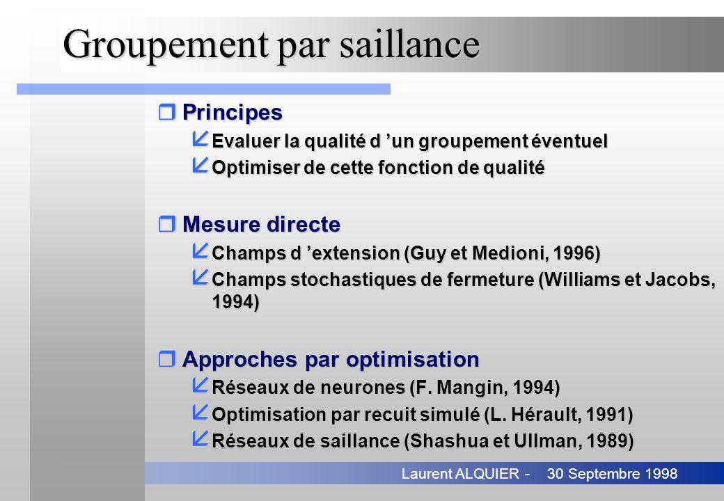 30 Septembre 1998Laurent ALQUIER - Groupement par saillance rPrincipes å Evaluer la qualité d un groupement éventuel å Optimiser de cette fonction de