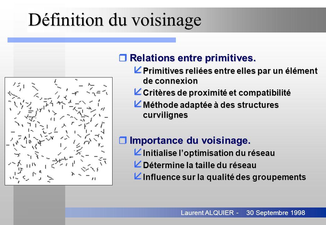 30 Septembre 1998Laurent ALQUIER - Définition du voisinage rRelations entre primitives. å Primitives reliées entre elles par un élément de connexion å