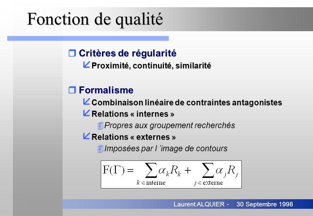 30 Septembre 1998Laurent ALQUIER - Fonction de qualité rCritères de régularité å Proximité, continuité, similarité rFormalisme å Combinaison linéaire