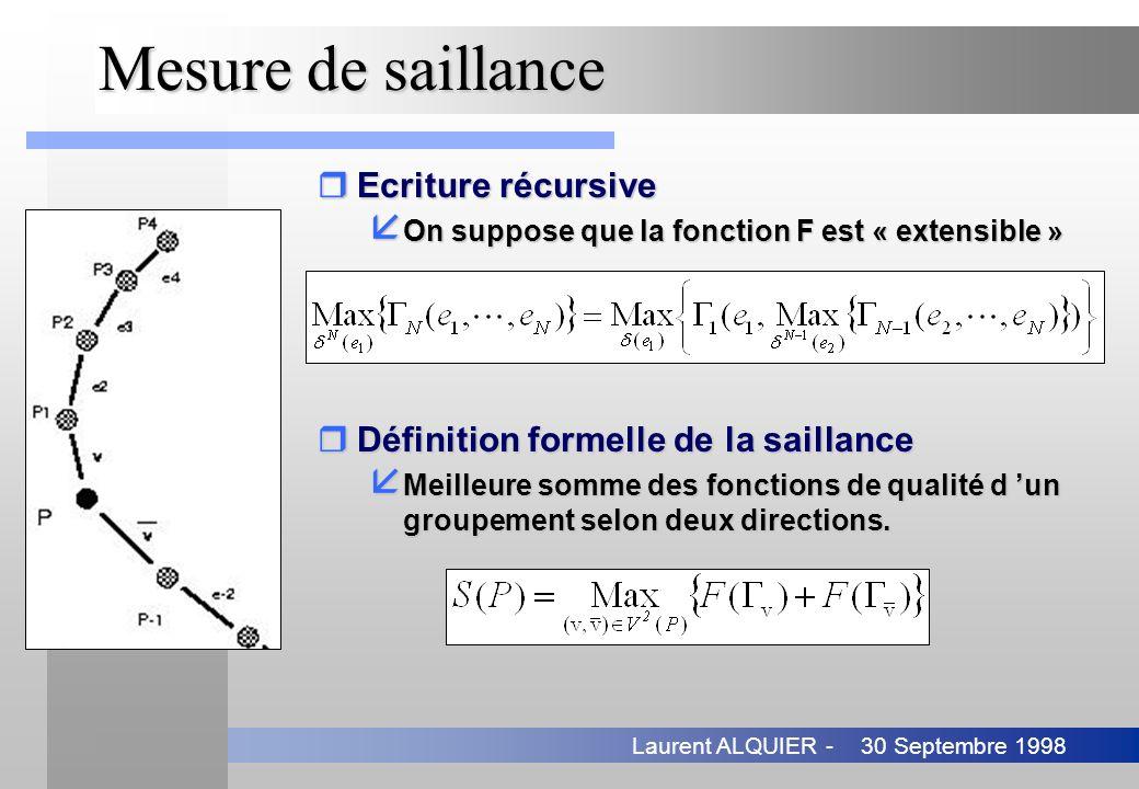 30 Septembre 1998Laurent ALQUIER - Mesure de saillance rDéfinition formelle de la saillance å Meilleure somme des fonctions de qualité d un groupement
