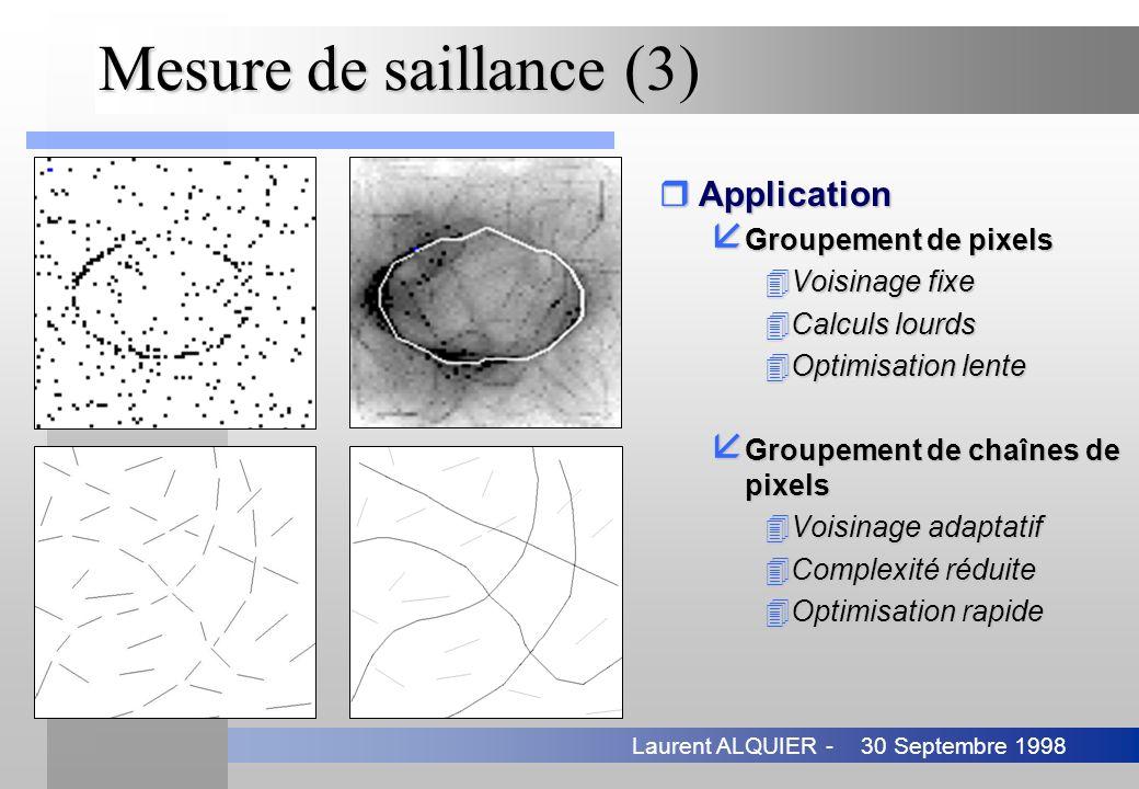 30 Septembre 1998Laurent ALQUIER - Mesure de saillance (3) rApplication å Groupement de pixels 4Voisinage fixe 4Calculs lourds 4Optimisation lente å G