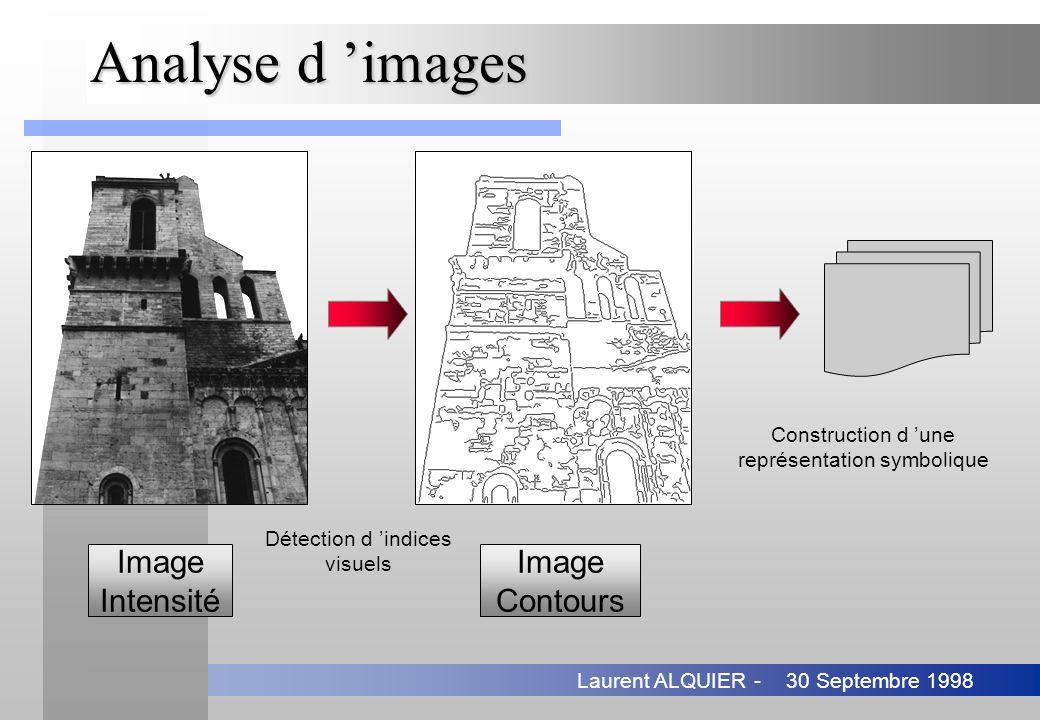 30 Septembre 1998Laurent ALQUIER - Analyse d images Image Intensité Image Contours Détection d indices visuels Construction d une représentation symbo