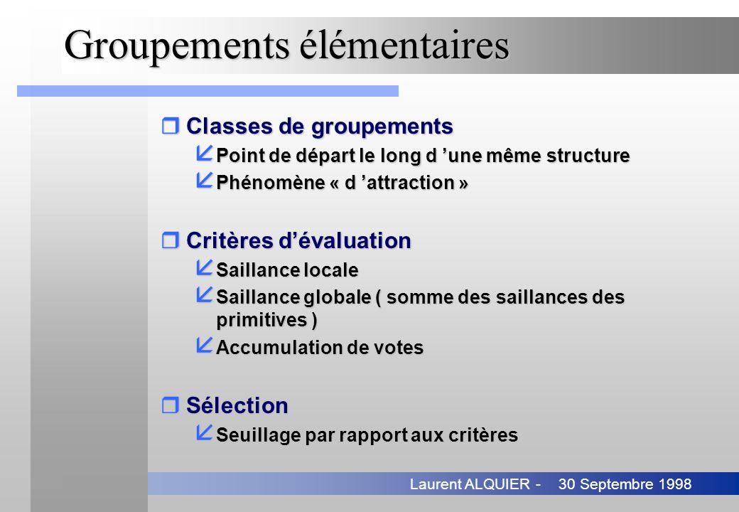 30 Septembre 1998Laurent ALQUIER - Groupements élémentaires rClasses de groupements å Point de départ le long d une même structure å Phénomène « d att