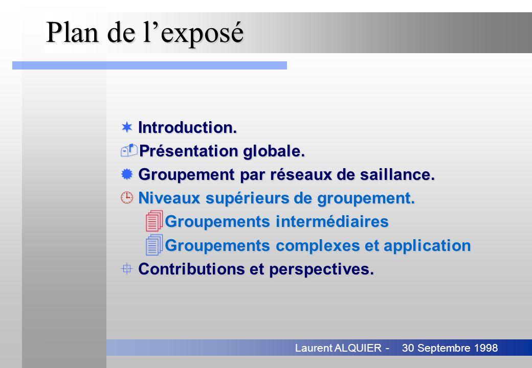 30 Septembre 1998Laurent ALQUIER - Plan de lexposé ¬Introduction. Présentation globale. ®Groupement par réseaux de saillance. ¹Niveaux supérieurs de
