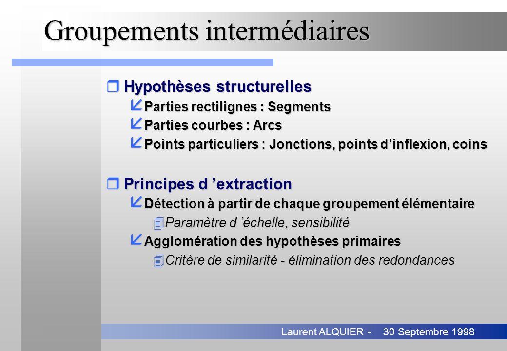 30 Septembre 1998Laurent ALQUIER - Groupements intermédiaires rHypothèses structurelles å Parties rectilignes : Segments å Parties courbes : Arcs å Po
