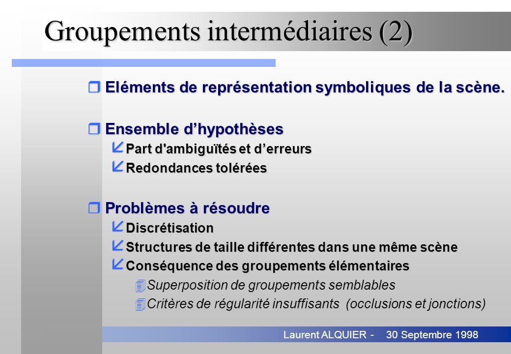 30 Septembre 1998Laurent ALQUIER - Groupements intermédiaires (2) rEléments de représentation symboliques de la scène. rEnsemble dhypothèses å Part d'