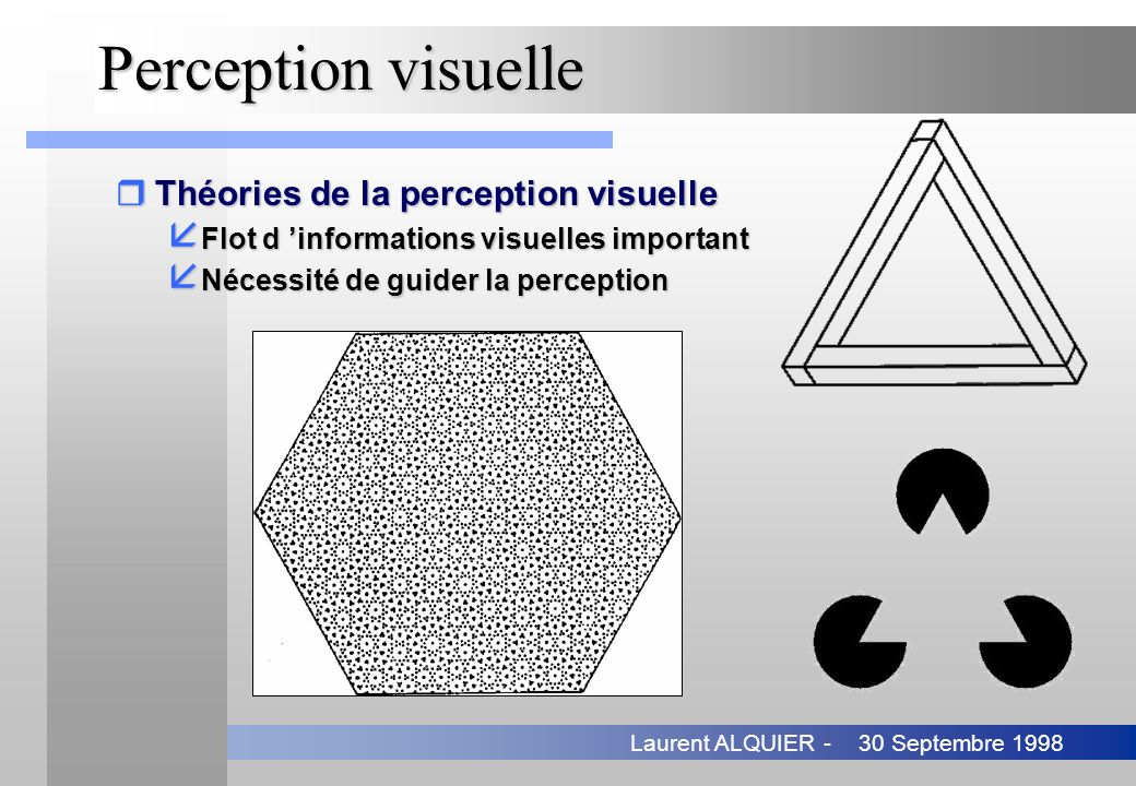 30 Septembre 1998Laurent ALQUIER - Contributions (3) rOrganisation perceptuelle de jonctions å Détection de jonctions élémentaires å Groupement en jonctions multiples rMise en correspondance structurelle å Couplage entre groupement perceptuel et appariement Matas and Kittler, 1993 - Chang and Aggarwal, 1997 Références