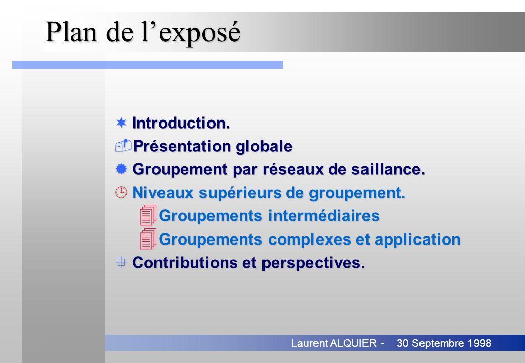 30 Septembre 1998Laurent ALQUIER - Plan de lexposé ¬Introduction. Présentation globale ®Groupement par réseaux de saillance. ¹Niveaux supérieurs de g