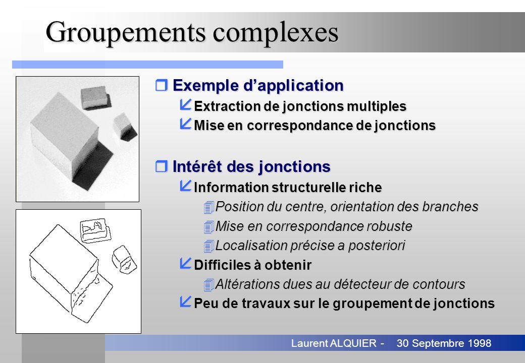 30 Septembre 1998Laurent ALQUIER - Groupements complexes rExemple dapplication å Extraction de jonctions multiples å Mise en correspondance de jonctio