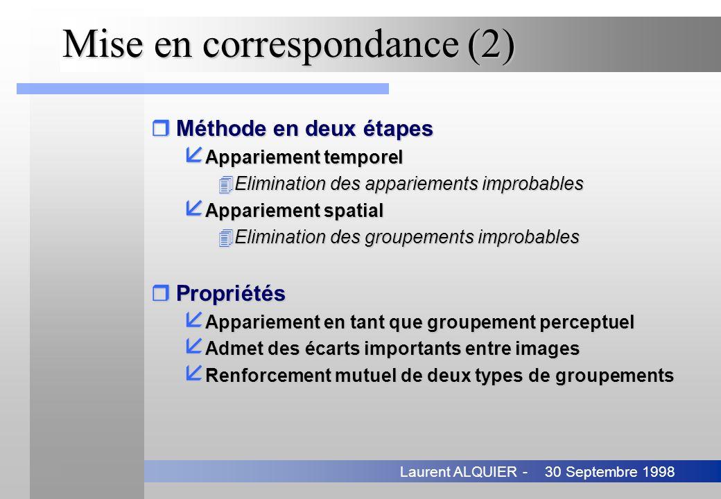 30 Septembre 1998Laurent ALQUIER - Mise en correspondance (2) rMéthode en deux étapes å Appariement temporel 4Elimination des appariements improbables
