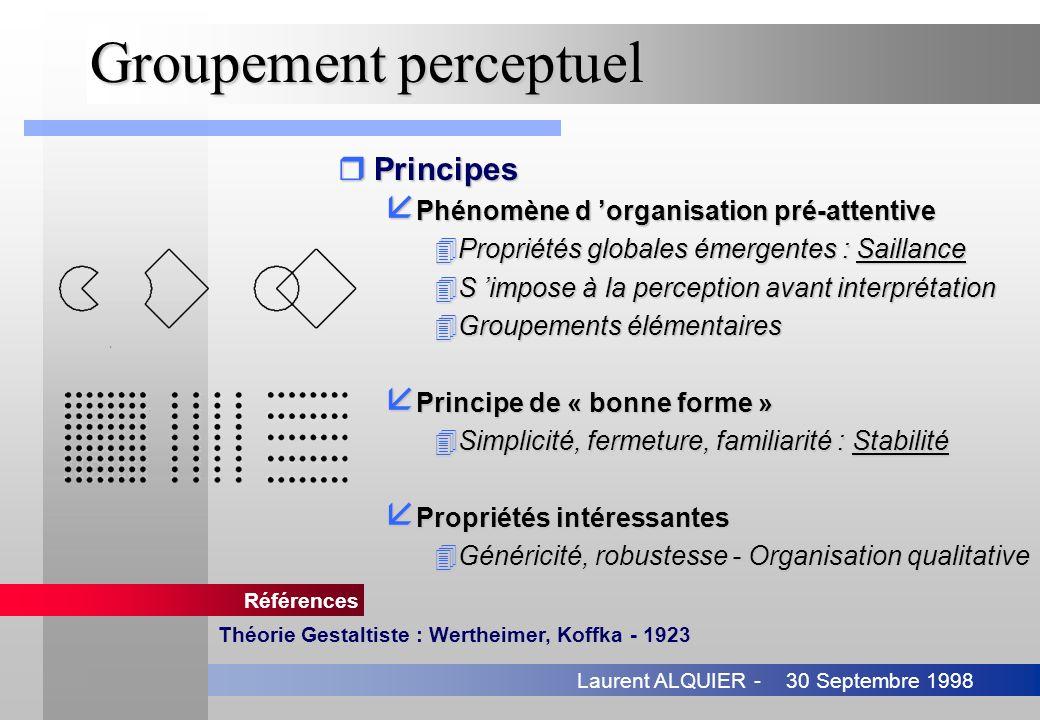 30 Septembre 1998Laurent ALQUIER - Groupement perceptuel rPrincipes å Phénomène d organisation pré-attentive å Phénomène d organisation pré-attentive